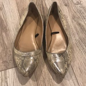 Banana Republic Snakeskin Metallic Flats